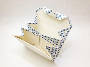 カードケース 江戸小紋の青色 ひらいた様子